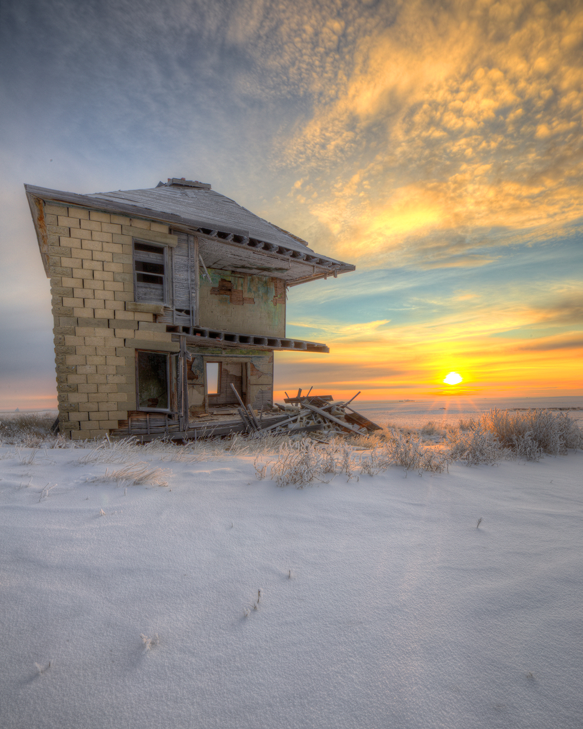 Abandoned house at sunrise in saskatchewan